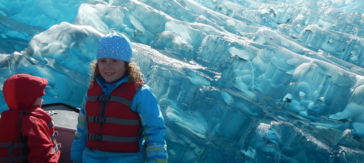 Glacier view up close with children