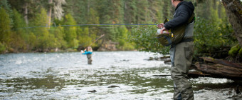 Anglers fly-fishing for steelhead